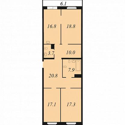 Планировка Трёхкомнатная квартира площадью 112.4 кв.м в ЖК «Прагма HOUSE»